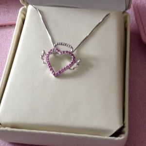 Jewelry - Heart with silver halo and wings necklace